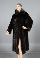 Saga Mink. Long mahogany-coloured coat, size 38-42