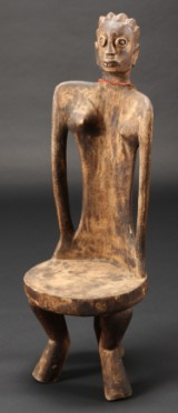Africana, tree trunk chair, richly carved wood, 20th century-last half