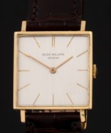 Patek Philippe. Vintage men's watch, 18 kt. gold with silver-coloured dial, c. 1963