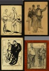 Eigil Petersen.  En samling på fire karikatur tegninger af personer,