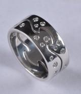 Georg Jensen Fusion ringar i 18 kt guld med diamanter (2)