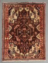 Hamadan Teppich / Brücke mit Naturfarben in Beige, Rosé und Hellblau, Handgeknüpft, Material: Wolle auf Baumwolle, Maße: ca. 114 x 148 cm