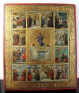 Russisk ikon, æggetempera på træ, 'Jesu opstandelse med 12 scener fra festen', 1800-tallet