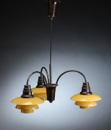 Poul Henningsen. Three-branched Bombardment Chandelier