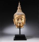 Thai Buddha head, gilt-bronze