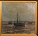 Heinrich Dohm. Sejlskibe ved Sønderho, Fanø