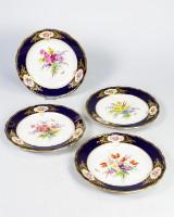 Four wall plates, Meissen, porcelain, cobalt blue, richly varied, fine
