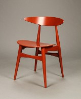 Hans J. Wegner for Carl Hansen & Søn. Stol model CH-33T, Red Brown