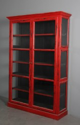Display cabinet, red antique paint finish