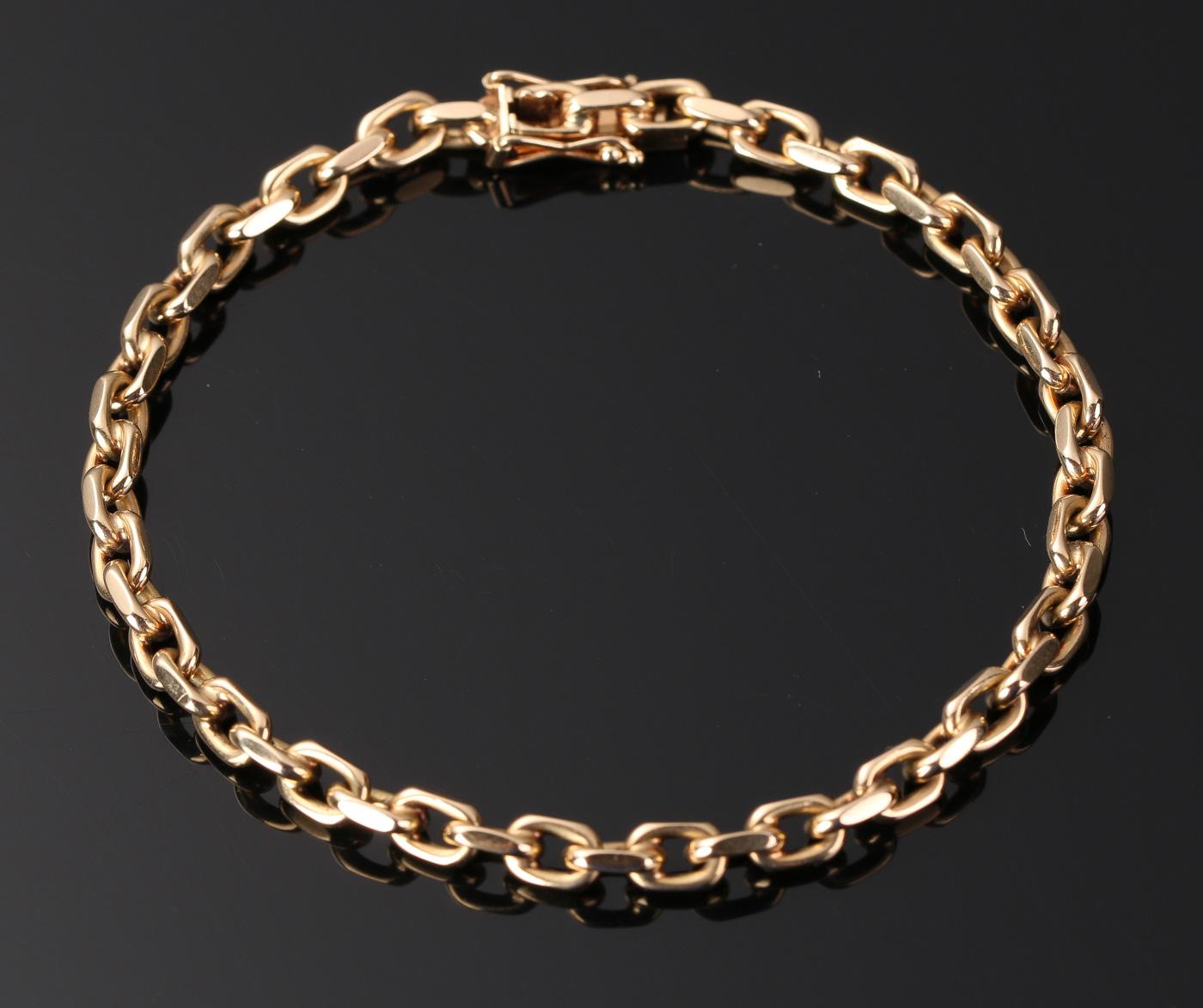 Armbånd af guld 14 kt - Anker armbånd af guld 14 kt, Vægt: 13,9 gr. Længde: 19 cm