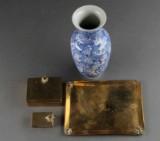 Kinesisk rygesæt af messing og vase (4)
