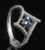 Diamond and sapphire ring in 18kt approx. 0.30ct