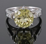 Platinum diamond & peridot ring approx. 0.15ct and 2.70ct
