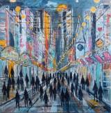 Poul Spanggaard, akryl på lærred, gadeparti New York