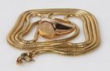 Halskæde samt ring af 14kt guld, vægt ialt. 50 gram (2)