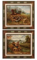 L. Devaux. Et par jagtmotiver, 1891, olie på lærred (2)