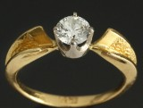 Russisk solitaire ring, 18 kt guld