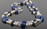 Polished lapis lazulli , quartz, onyx  & fresh water pearl necklace