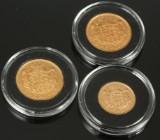 Guldmønter. Frederik VII 10 krone 1909 og 20 krone 1912, Christian X 20 krone 1913 (3)