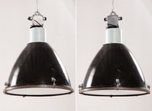 ware 3519529 zwei industrieleuchten werkslampen werksleuchten der 1950er 1960er 2. Black Bedroom Furniture Sets. Home Design Ideas
