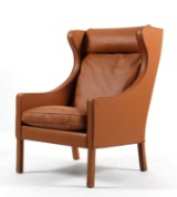 Børge Mogensen. Wing chair, model 2204, newly reupholstered