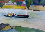 Helga Radener-Blaschke, olie på lærred, 'Der Rhein bei Benrath'