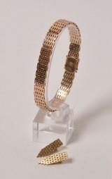 Murstens armlænke samt par øreclips af 14 kt guld
