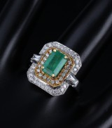 Emerald and brilliant-cut diamonds, 18 kt. gold and white gold