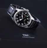 IWC 'Fliegeruhr Mark XVII'. Men's watch, steel, with black dial - box + certificate 2014
