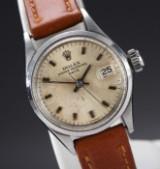 Rolex 'Date'. Vintage dameur i stål med sølvfarvet skive, ca. 1969