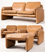 Seating group from De Sede: Two sofas, a chair and a footstool in leather (4)