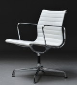 Charles Eames. Office chair, Aluminium Group series, model EA-108, white leather