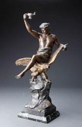 Figur af patineret zink efter Louis Picault