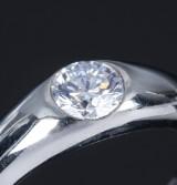 English diamond solitaire ring, 950 platinum, 0.58 ct.