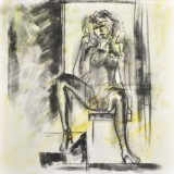 Sorin Averchi, f.1951. Akryl på duk, sittande kvinna.