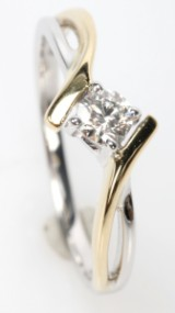 Brilliant-cut diamond ring, 14 kt. gold/rhodium-plated gold, 0.23 ct.