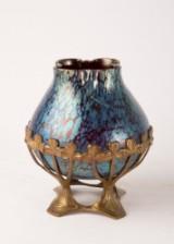 Glasvase, Jugendstil, mit Messingmontierung, um 1900, Messing / Glas