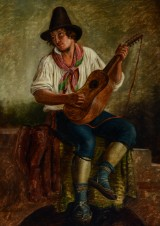 Peter Raadsig, oil on canvas, young Italian with mandolin