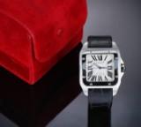 Cartier 'Santos 100 XL'. Herreur i stål med original rem og spænde, 2010'erne