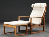 Børge Mogensen. High-backed sled chair, oak, with footstool, model 2254, new upholstery (2)