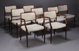 N. O. Møller. Dining chairs and two armchairs, rosewood (8)