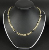 Plate necklace featuring brilliant-cut diamonds and sapphires approx.: 4.20 ct.