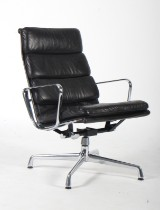 Charles Eames. Soft Pad lounge chair, model EA-215. Vitra, dark-brown leather