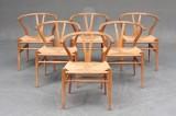 Hans J. Wegner. Six Wishbone chairs with oak frames (6)