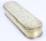 Hollandsk tobaksdåse, 1700-tallet. Indgraveret m/ evighedskalender mm