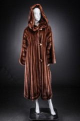 Mink coat with hood, scanbrown, size 42/44, labelled Birger Christensen