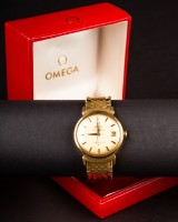 Gentlemen's watch, Omega Constellation Grand Luxe Yellow, chronometer, 750 gold