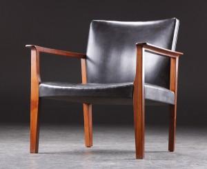 dansk design lænestol Lænestol, palisander og sort læder, dansk design, 1960'erne  dansk design lænestol