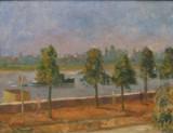 F. Jansen. Oliemaleri, 'Spaziergänger am Rhein'