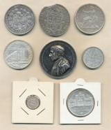 Diverse sølvmønter og medaljer